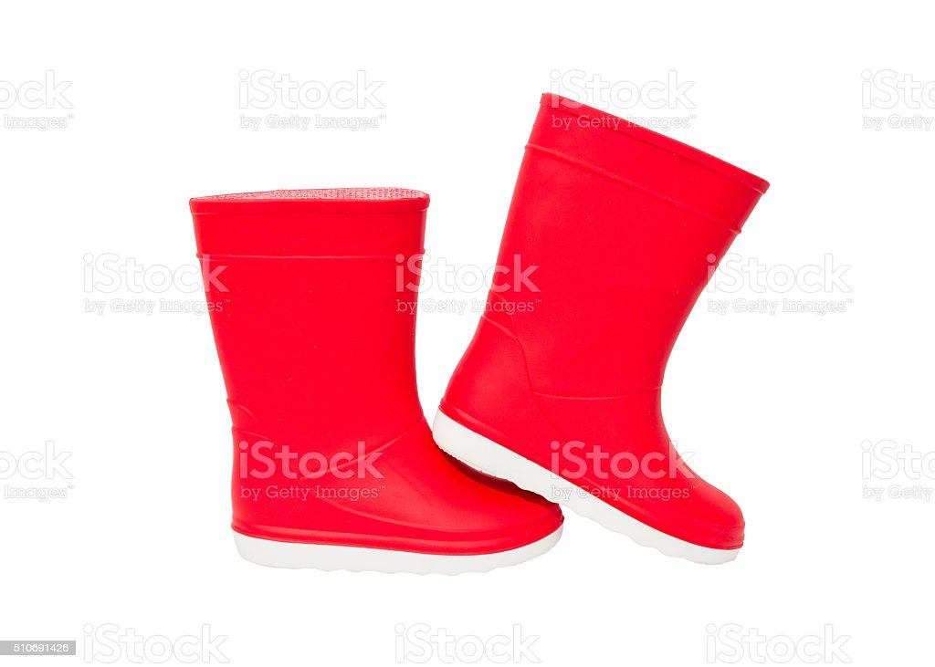 Red  rainboots isolated . Rubber boots for kids. stock photo