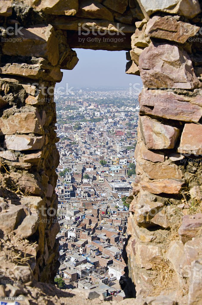 red Rajasthan city Jaipur in India stock photo