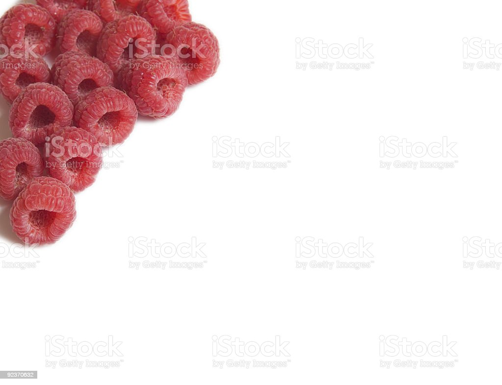red raspberries background stock photo