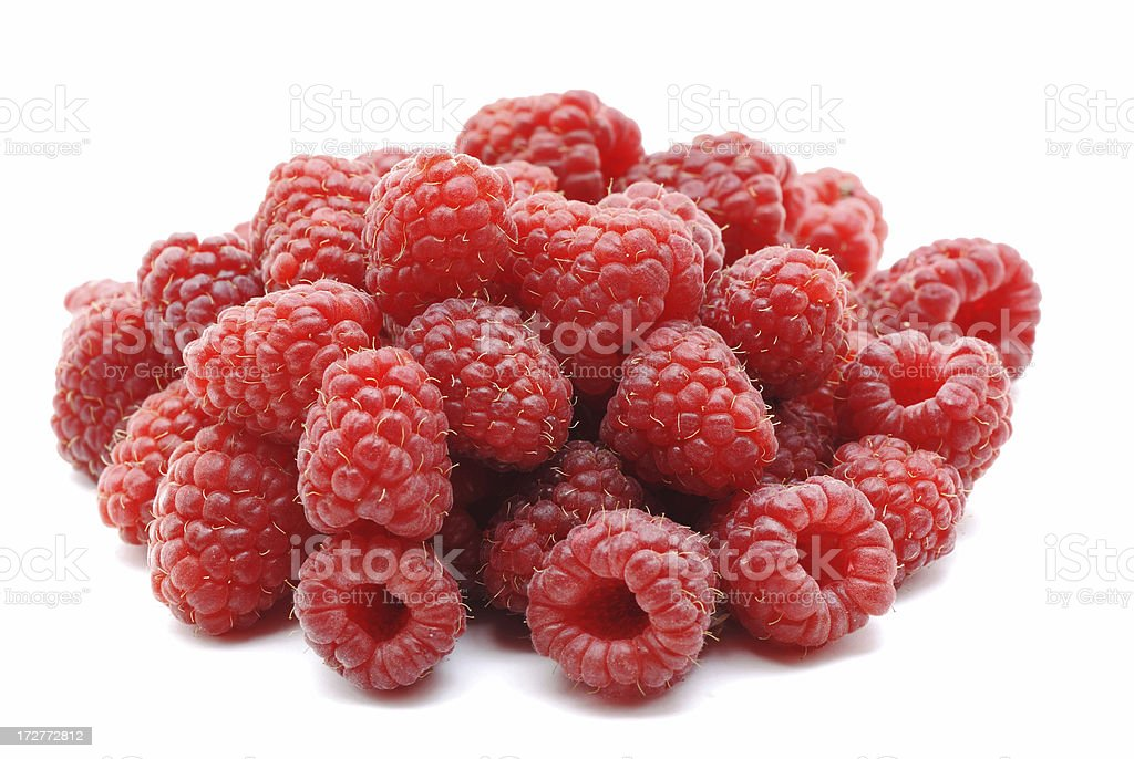 Red Raspberries isolated on white royalty-free stock photo