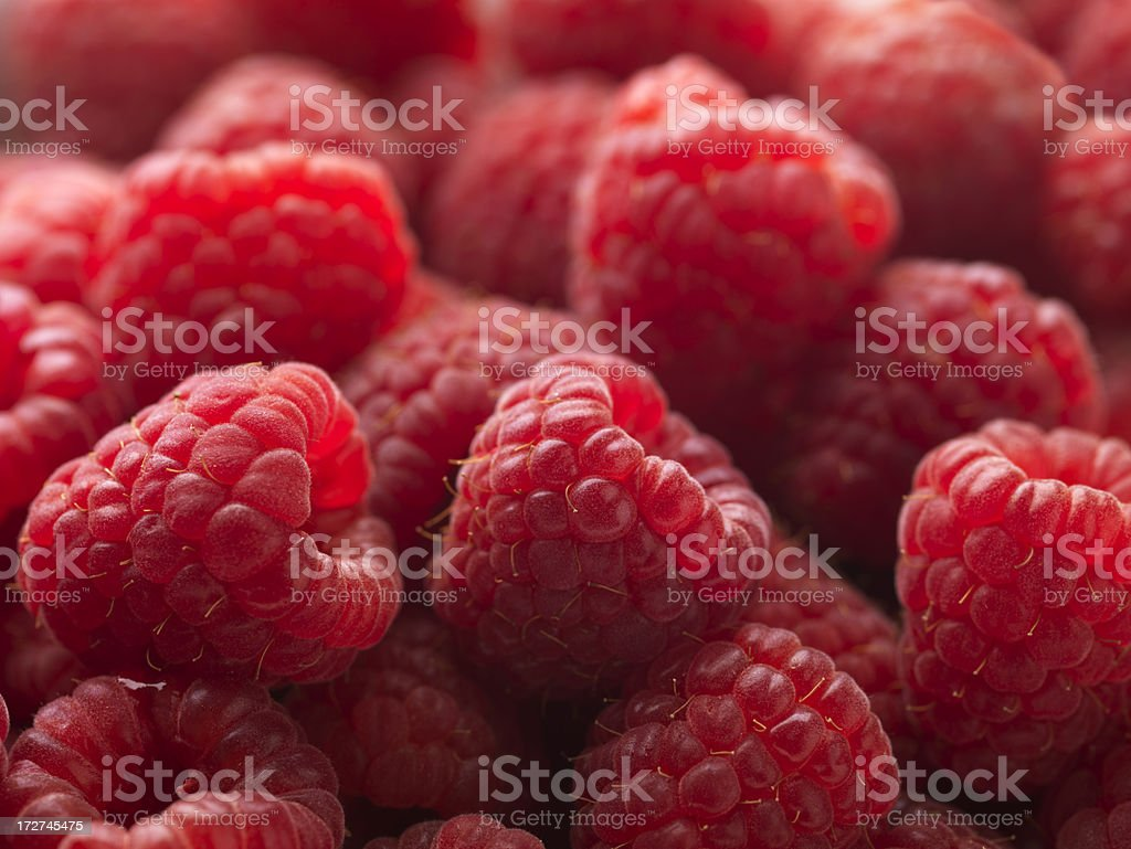 Red Raspberries Macro XXL royalty-free stock photo