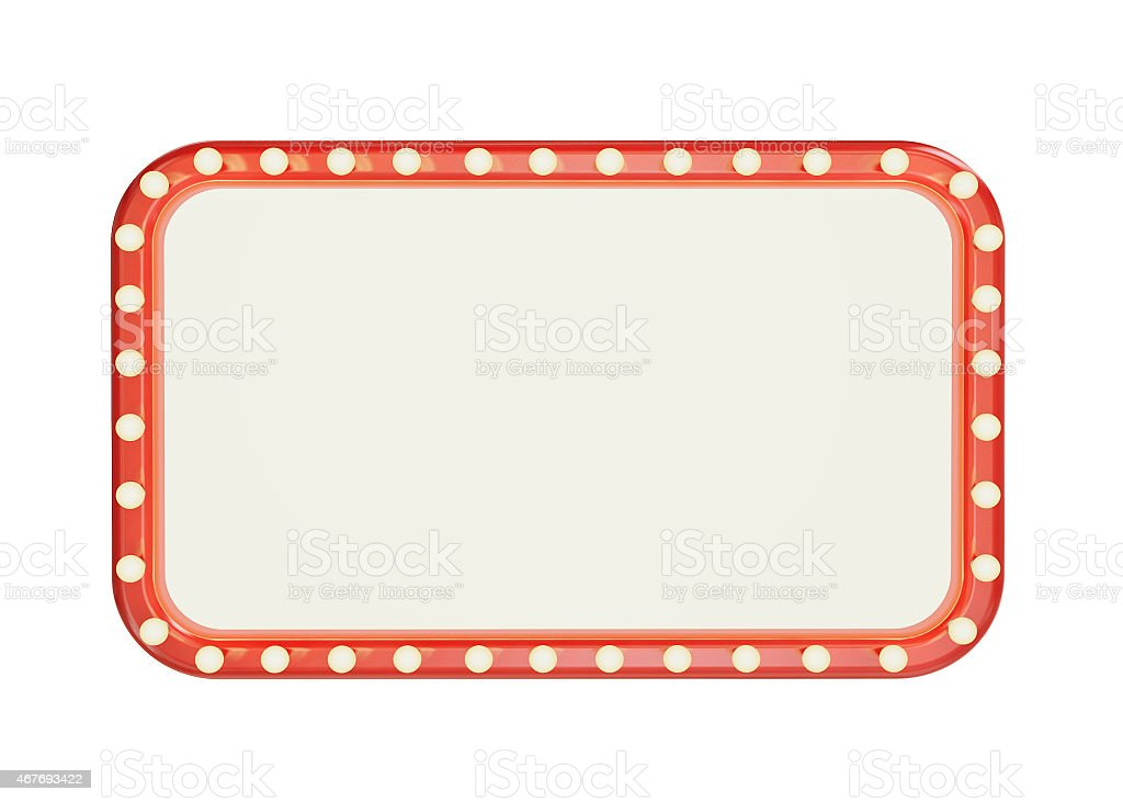 Red rectangular frame with light bulbs around the edges stock photo