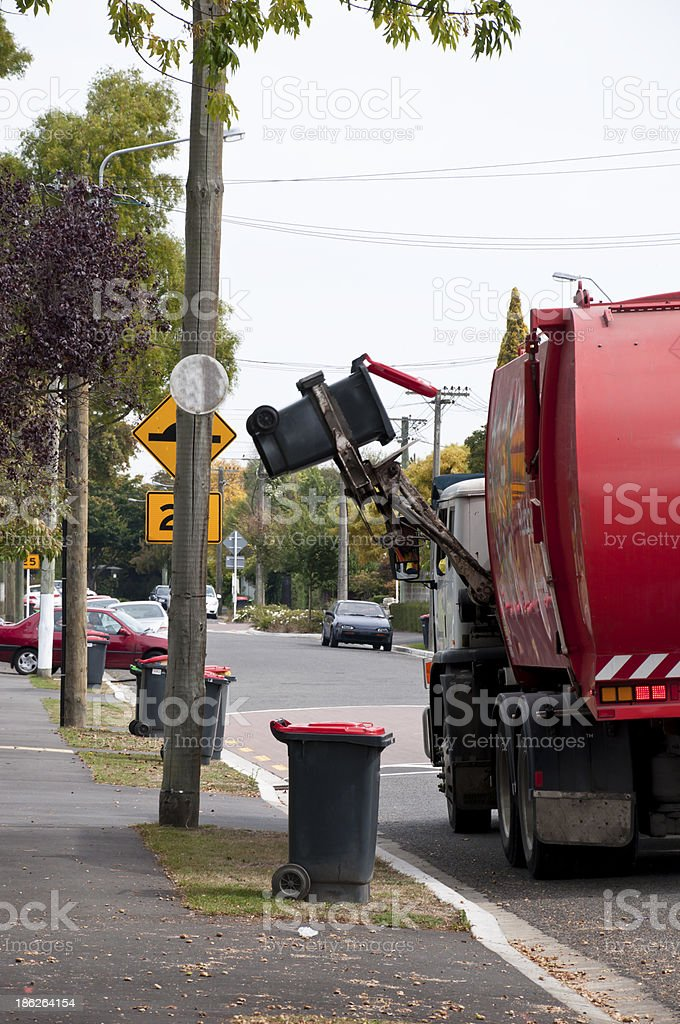 Red Recycling Truck stock photo