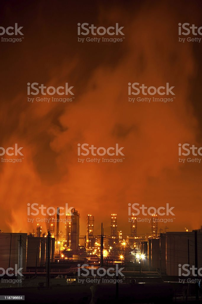 Red Refinery at Night royalty-free stock photo