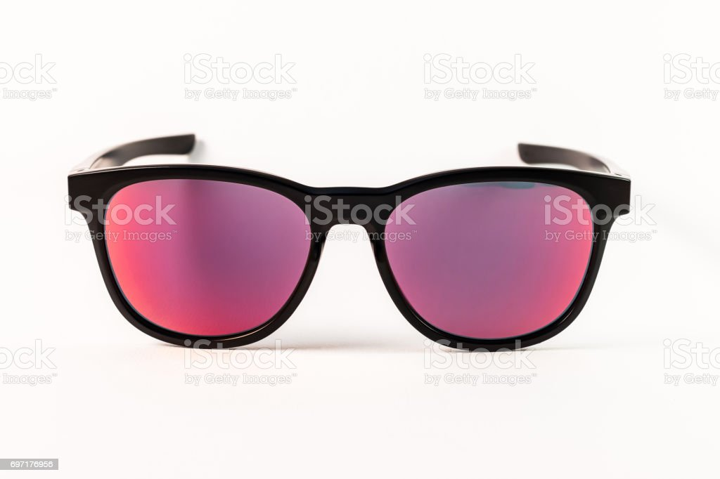 Red reflection sunglasses isolated stock photo