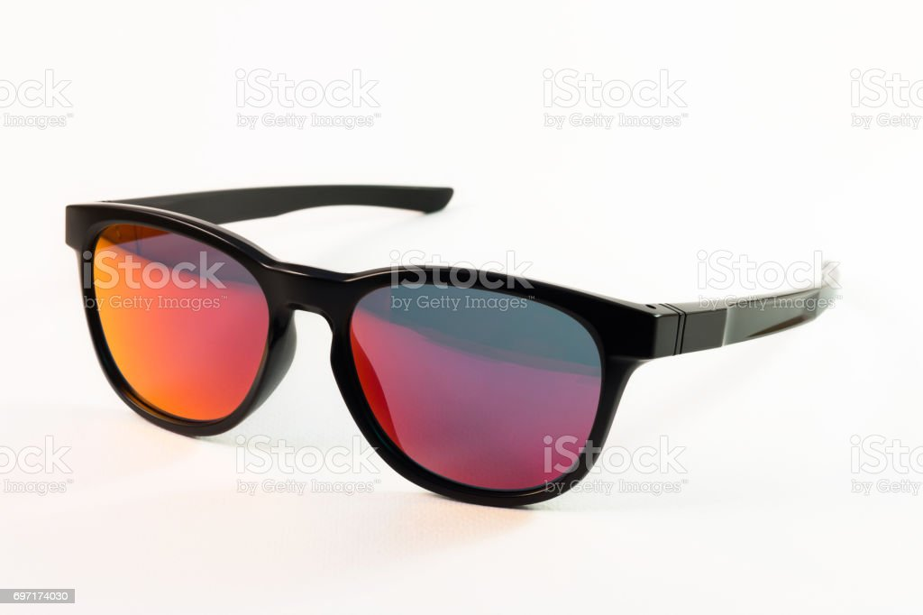 Red reflection sunglasses stock photo