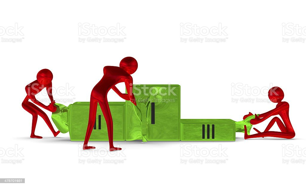 Red reflective characters tearing green podium. Front view stock photo