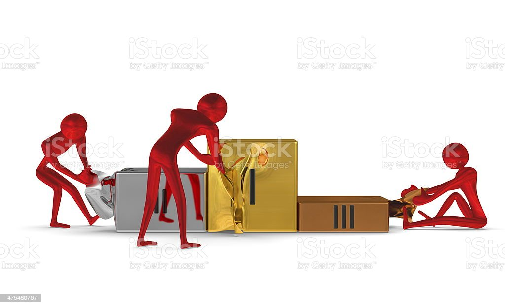 Red reflective characters tearing metallic podium. Front view stock photo