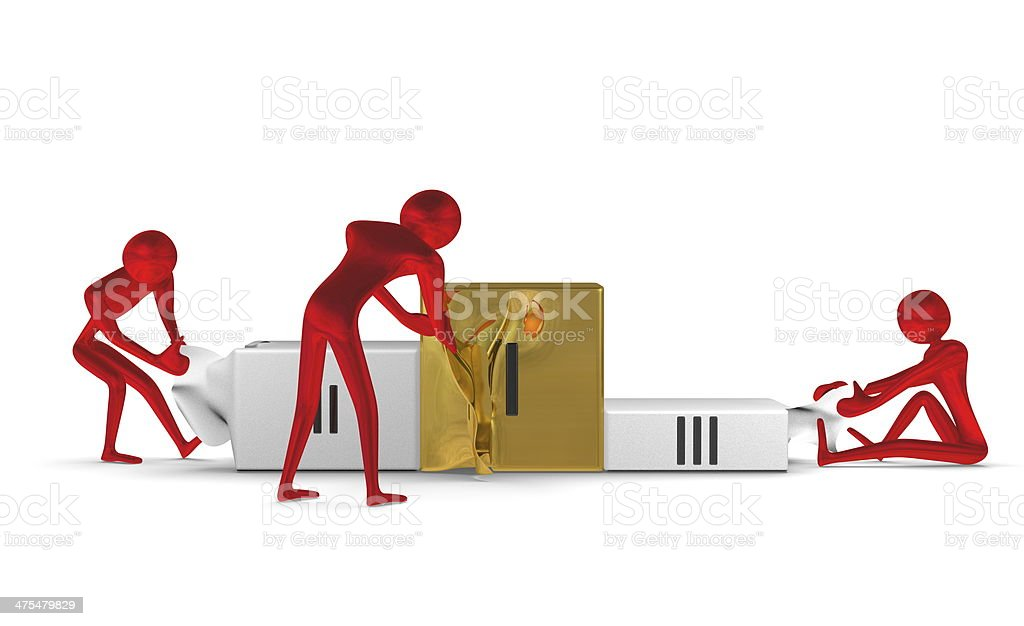 Red reflective characters tearing podium. Front view stock photo