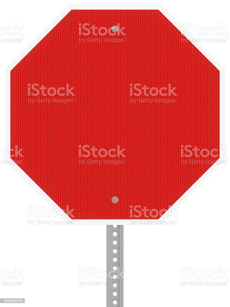 Red reflective hexagon stop sign isolated on a white background. stock photo