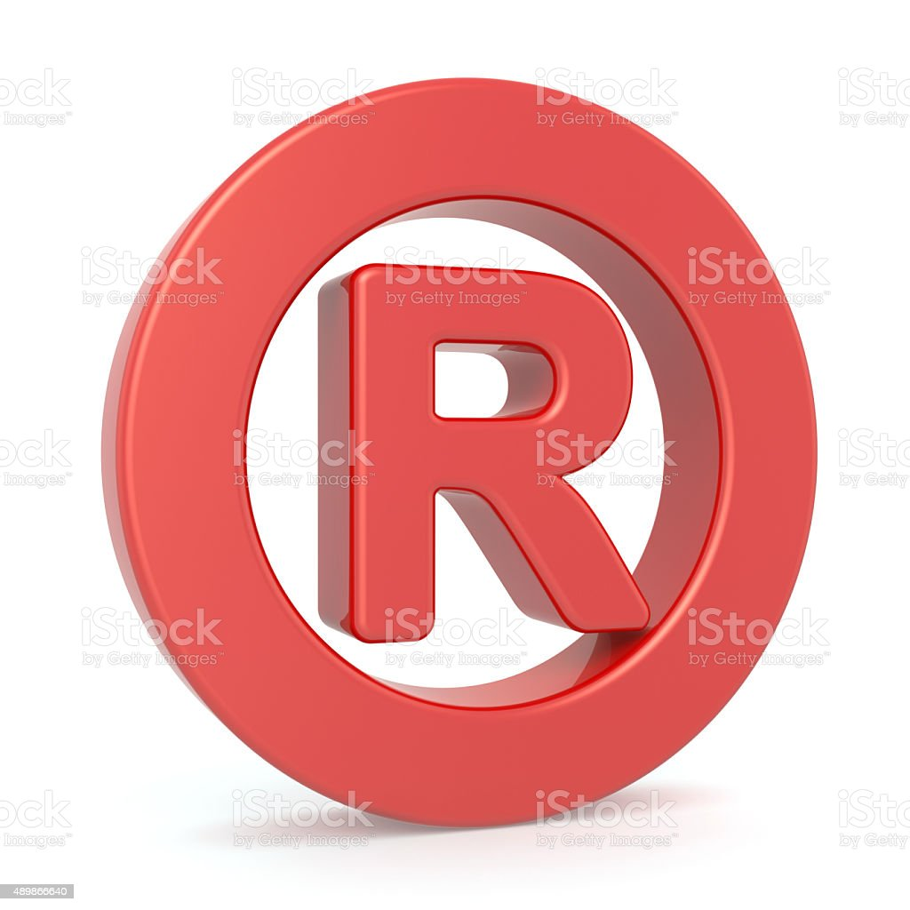 Red registered symbol stock photo