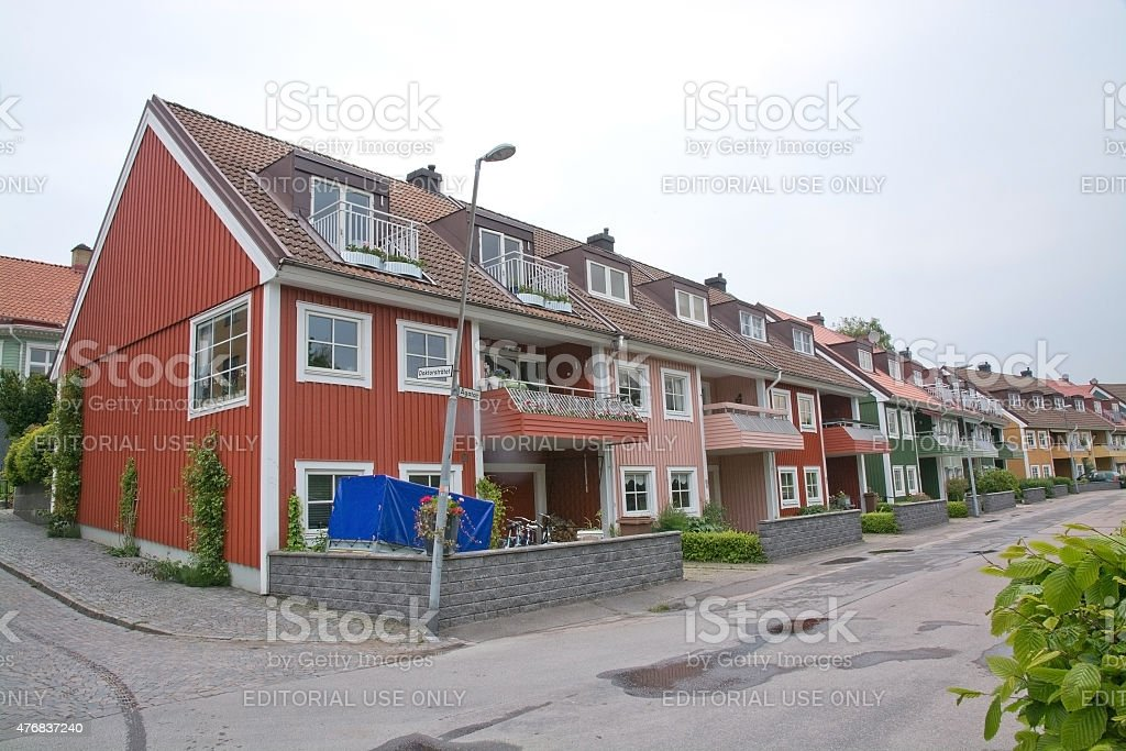 Red residential town houses stock photo