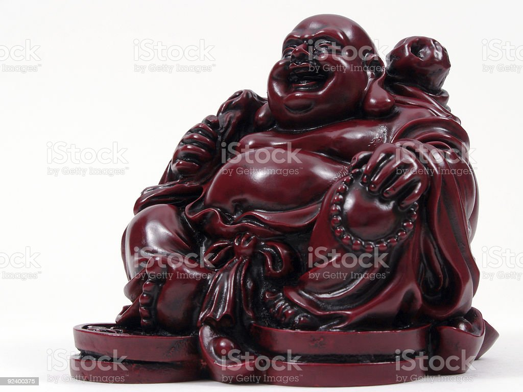 Red Resin Money Buddah royalty-free stock photo