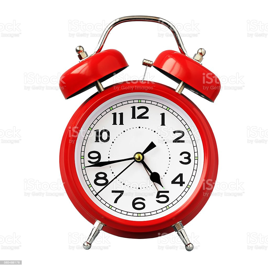 Red retro alarm clock on white background isolate. stock photo