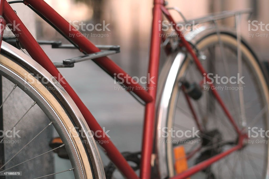 Red Retro Bicycle on Paris Street royalty-free stock photo
