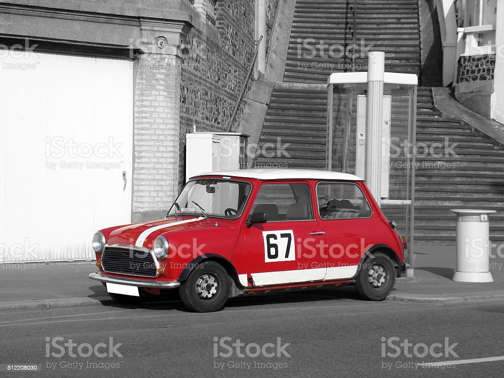 Red Retro Car - Black and White Photography stock photo