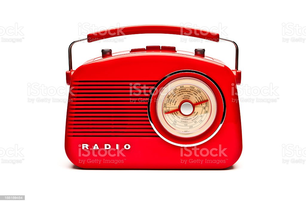 Red retro radio set isolated on white stock photo