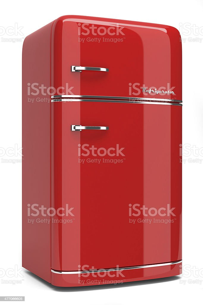 Red retro refrigerator stock photo