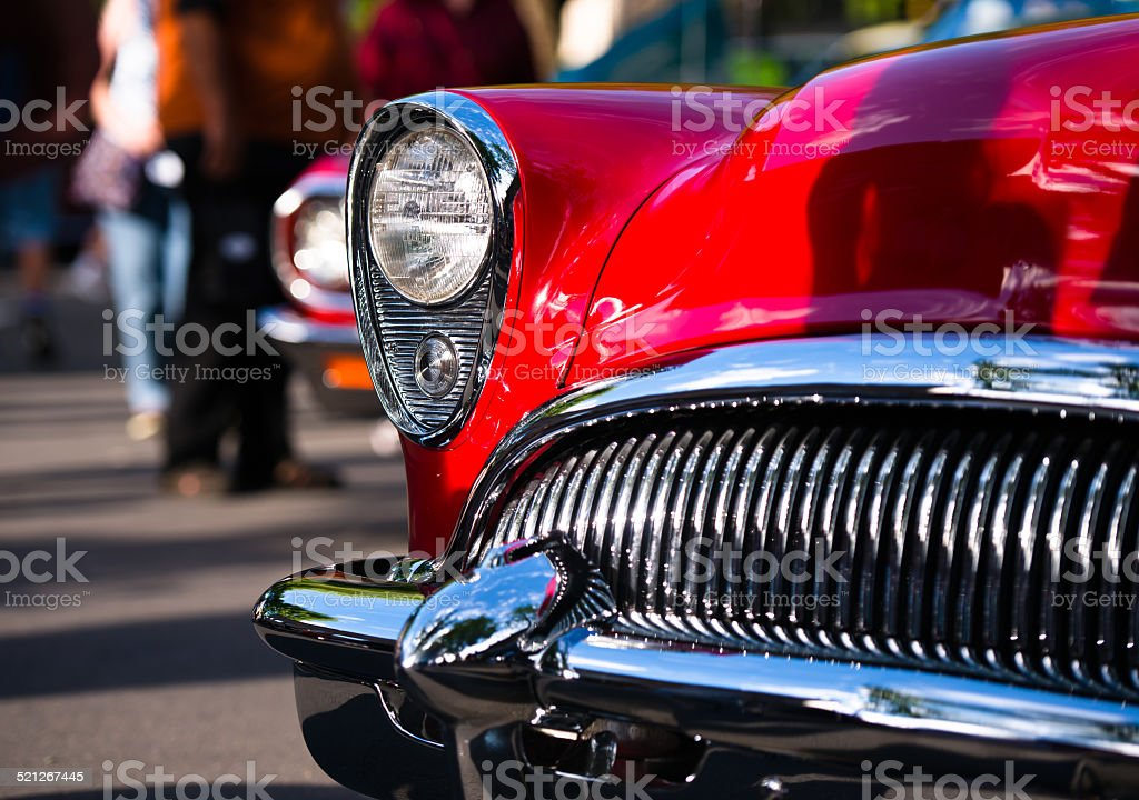 Red retro vintage chrome car details stock photo