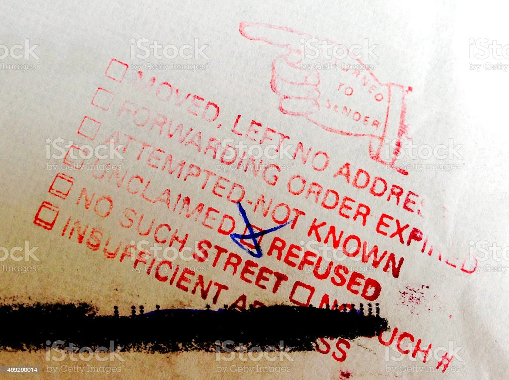 Red return to sender stamp with refused checked off in blue stock photo