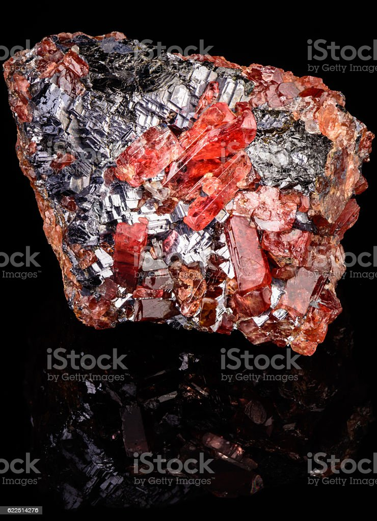 Red Rhodonite Crystals on Galena stock photo