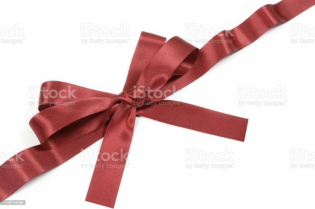 Red ribbon and bow stock photo