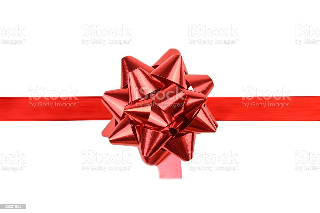 Red Ribbon And Red Gift Bow stock photo