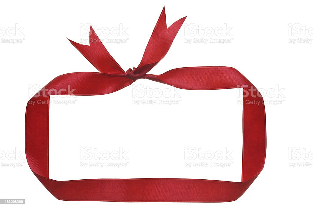 red ribbon as frame isolated on white stock photo