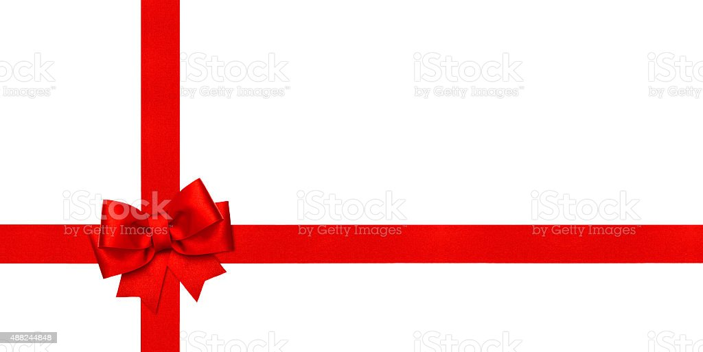 Red ribbon bow. Holidays background. Gift card concept stock photo