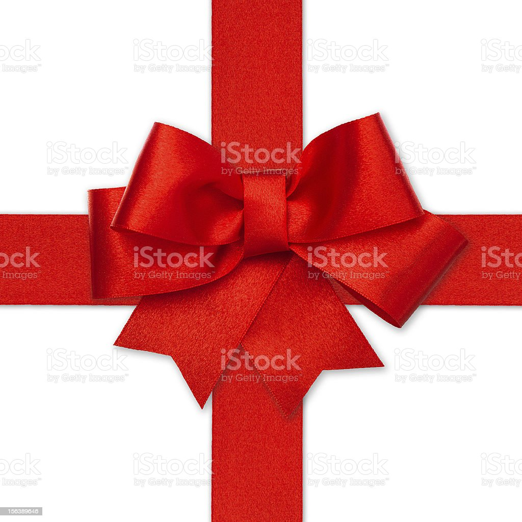 red ribbon bow isolated on white royalty-free stock photo