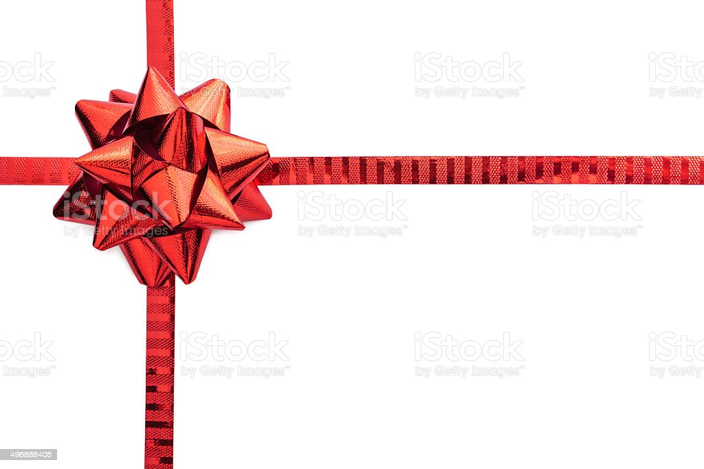 Red ribbon bow isolated stock photo