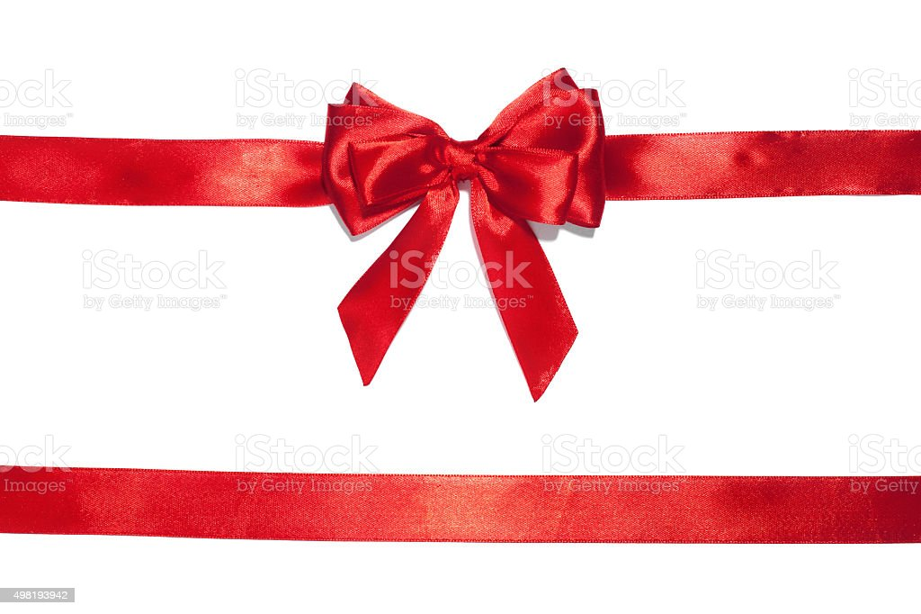 Red ribbon bow on white background stock photo