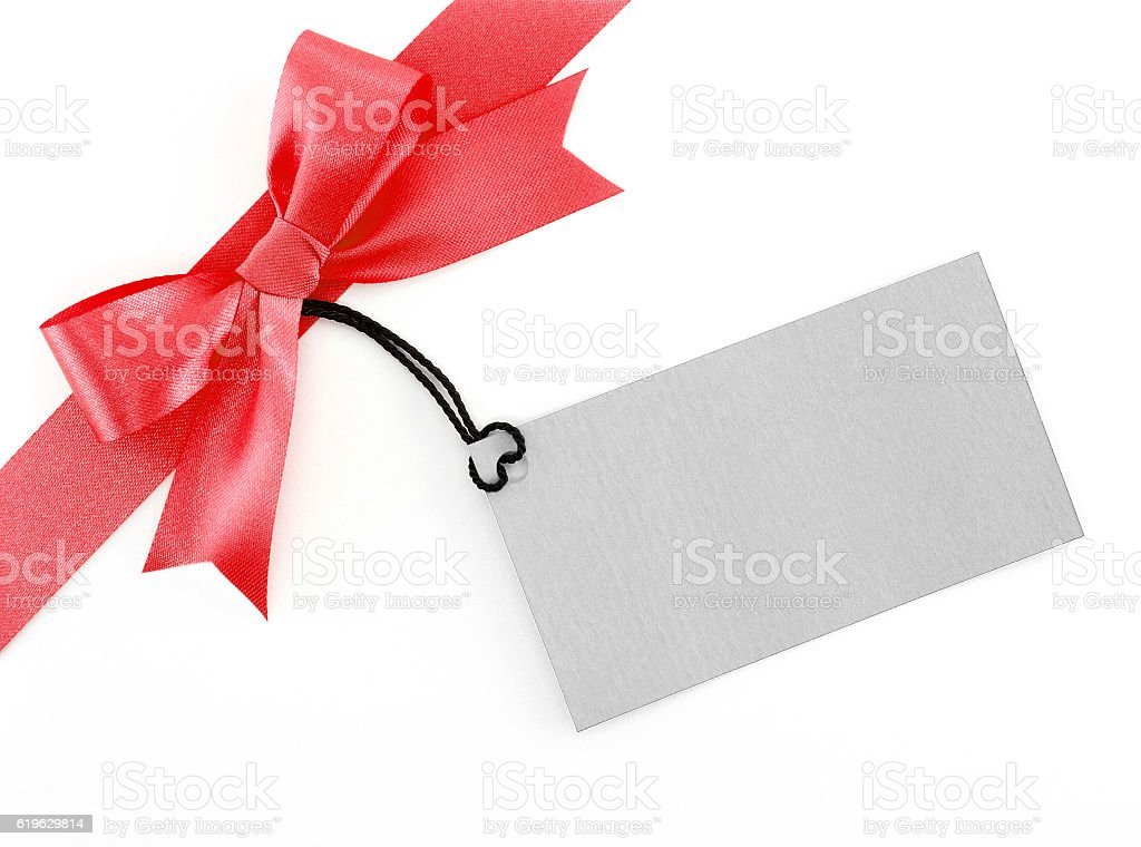 red ribbon bow with greeting card on white background stock photo