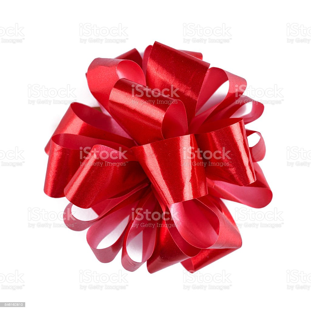 Red ribbon bow with tails isolated on white background. stock photo