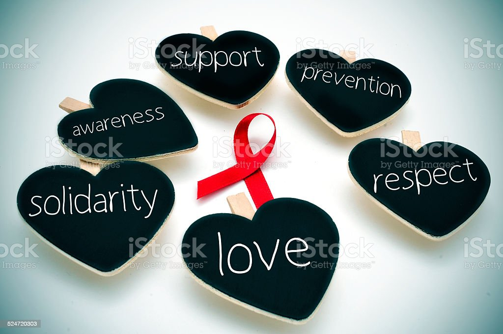 red ribbon for the fight against AIDS stock photo