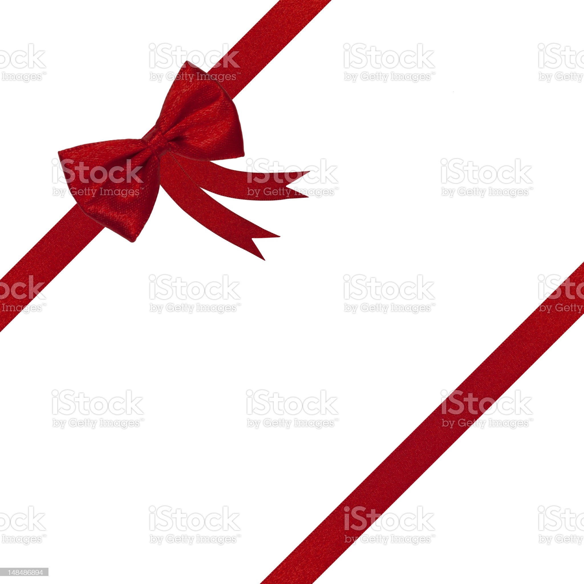 red ribbon gift bow present isolated on white royalty-free stock photo