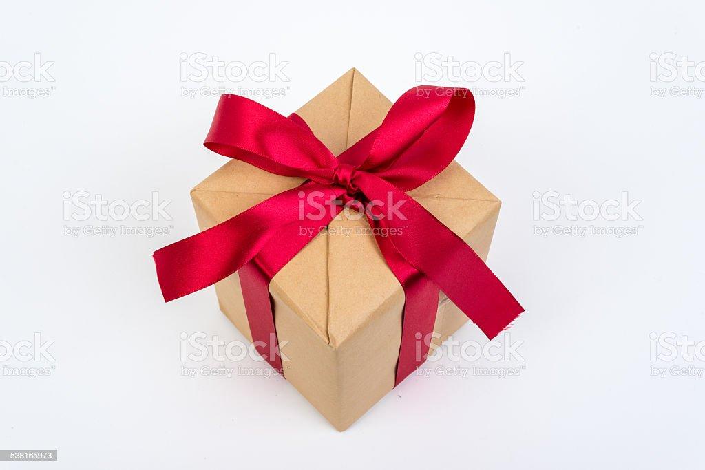 Czerwona wstążka pudełko na prezent zbiór zdjęć royalty-free