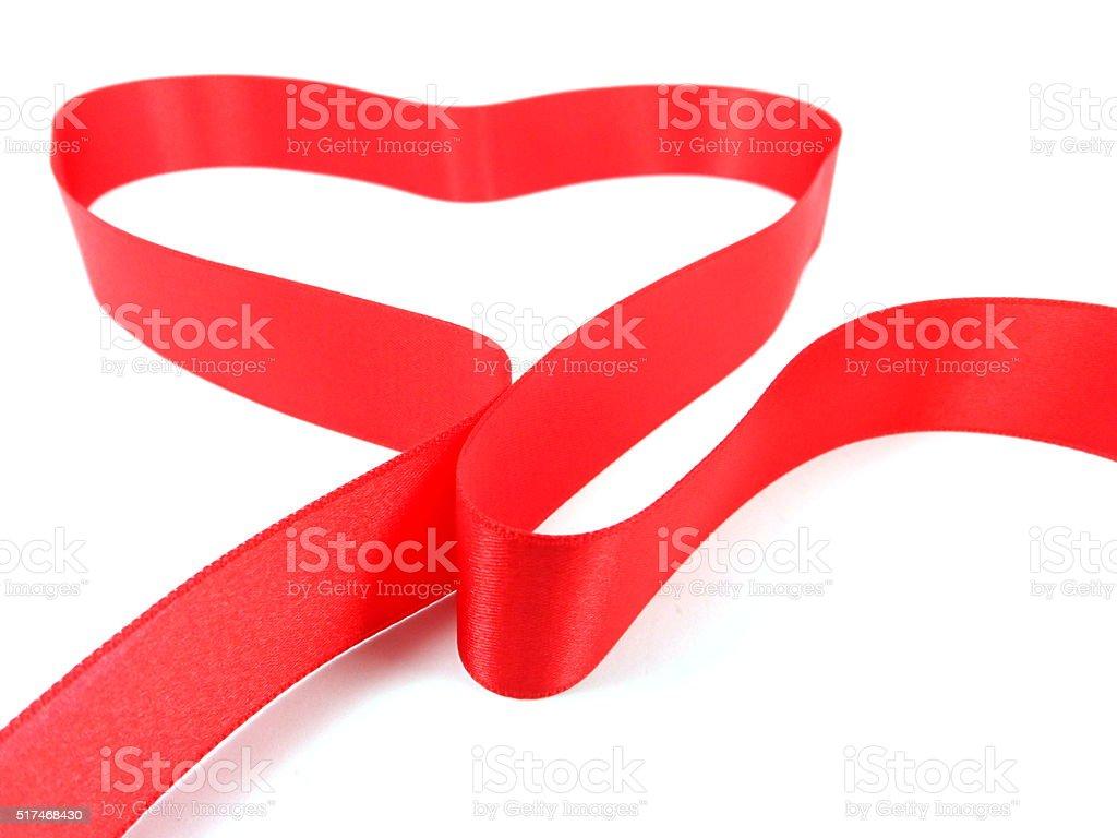 Red ribbon heart stock photo