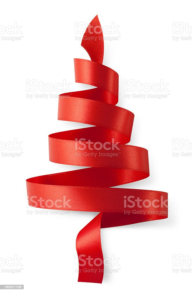 Red ribbon in the shape of a Christmas tree stock photo