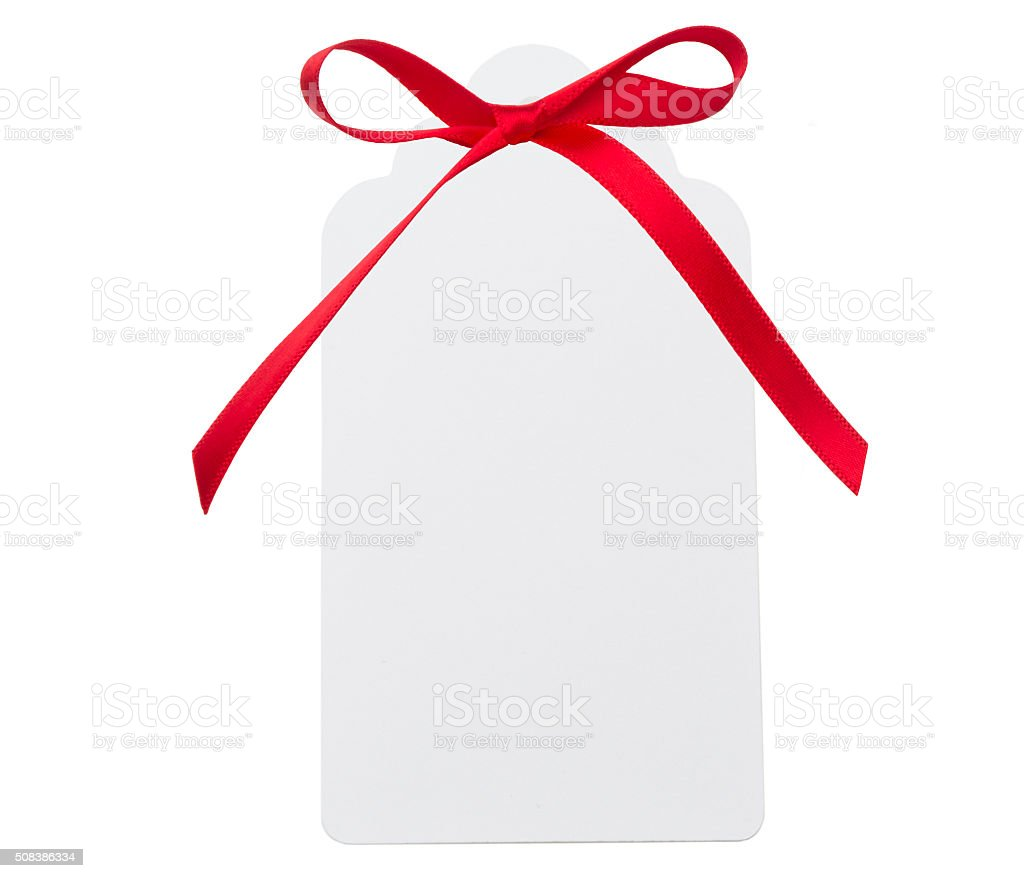 Red Ribbon Label stock photo