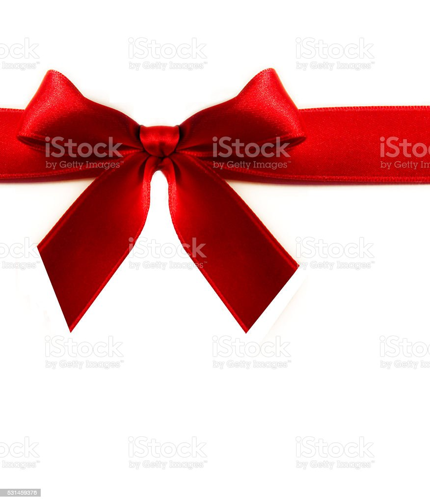 Red ribbon , white background stock photo