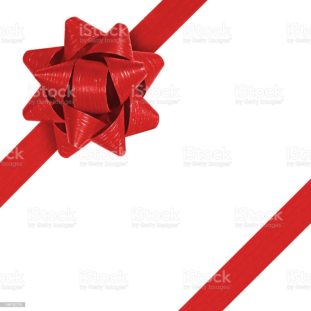 Red ribbon with corner bow stock photo