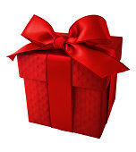Red ribbon with red quilt pattern gift box