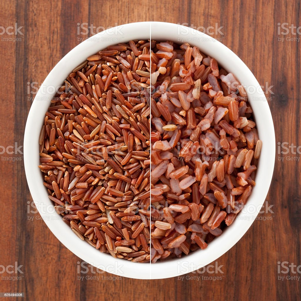 Red rice composition stock photo