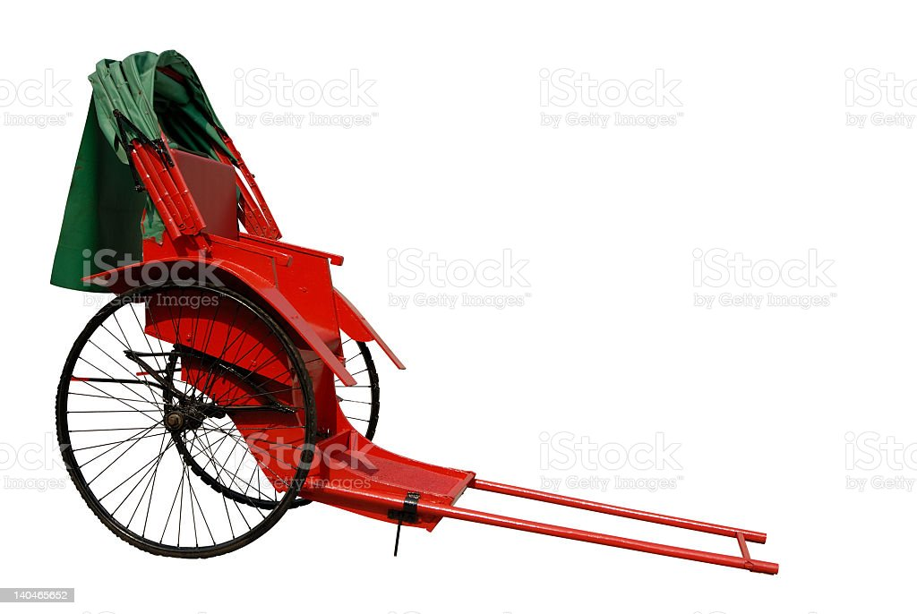 A red rickshaw in Asia on a white background stock photo