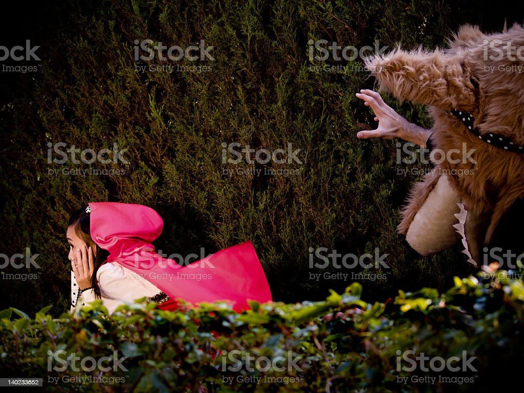 Red Riding Hood and Wolf royalty-free stock photo