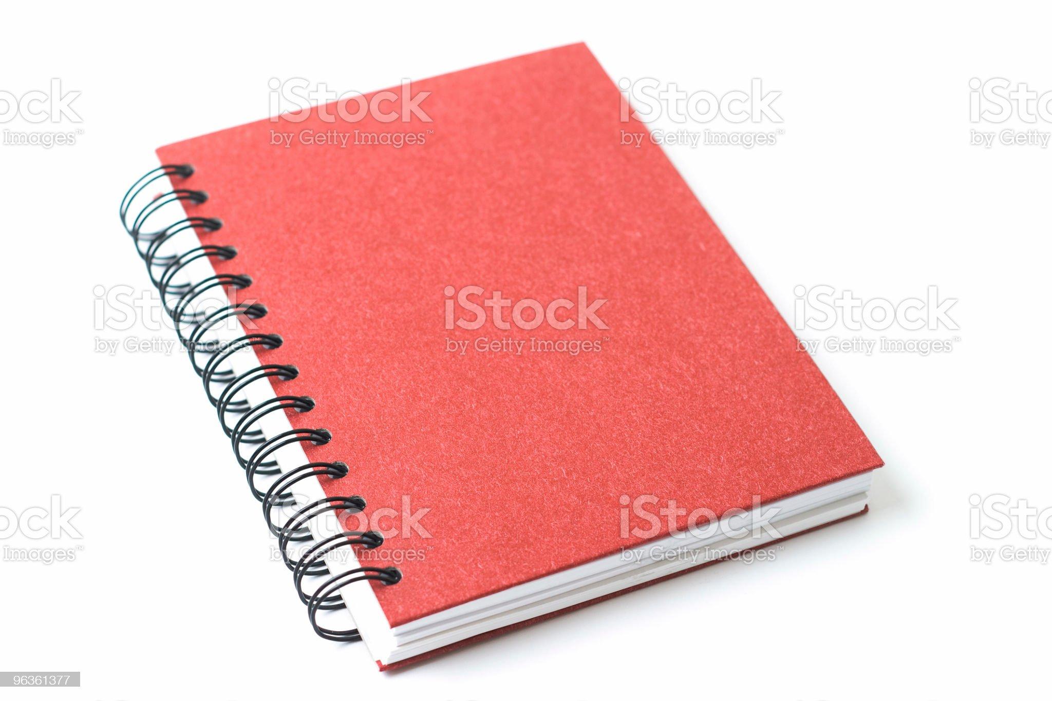 Red ring bound notebook on white background royalty-free stock photo