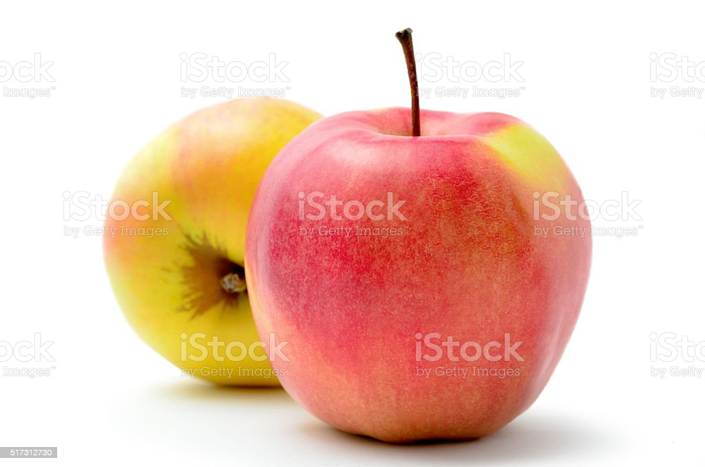 Red, ripe apples Jonagold isolated on white background stock photo