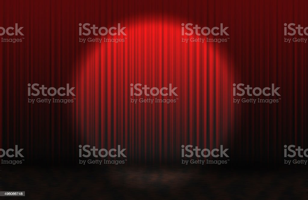 Red rising curtain stock photo
