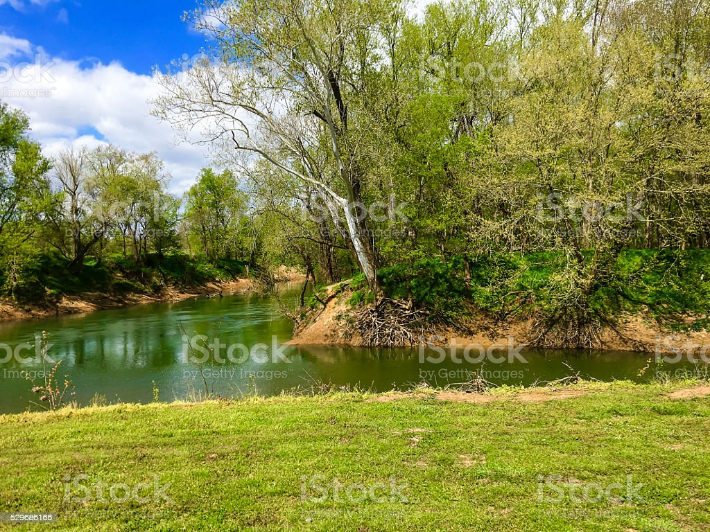 Red River and Sulphur Fork Creek in Tennessee stock photo